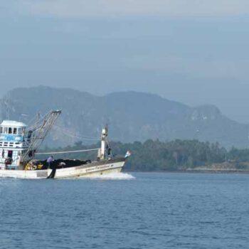 Anfahrt zur Insel Koh Klang mit Blick auf das Panorama von Krabi und der Mündung des Krabi River