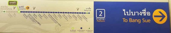 Streckenfahrplan mit Richtungspfeilen an den Fahrspuren der MRT