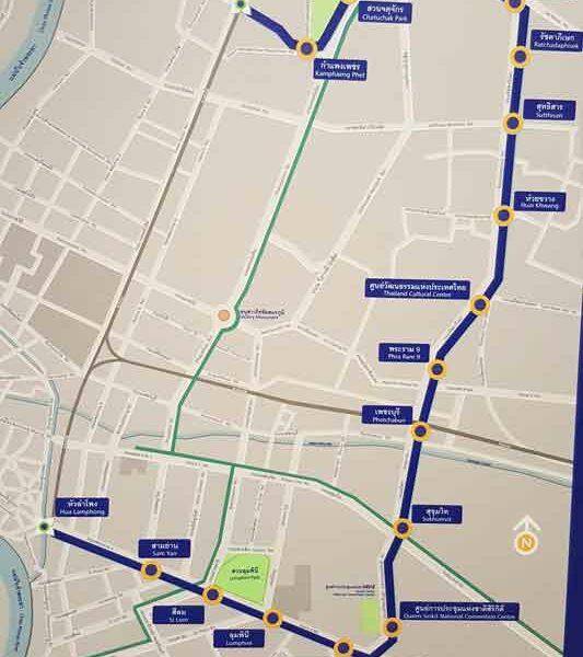Übersicht über das Streckennetz der MRT in Bangkok