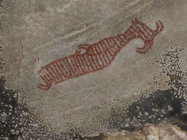 Höhlenmalerei des Großkopfgeistes in der Tham Pee Hua Toh Höhle