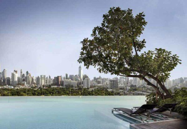 Blick vom Sofitel SO Bangkok über den Lumphini Park, das Sofitel SO Bangkok ist in Silom gelegen und nahe einer MRT Station