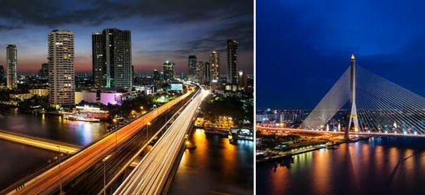 Eine Dinner Cruise in Bangkok. Die Skyline von Bangkok in der Abenddämmerung genießen.