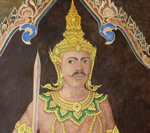 Historische Wandmalereien im Wat Pho Tempel in Bangkok, Thailand