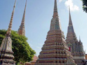 Die Großen Chedis in Wat Pho, Bangkok, Thailand
