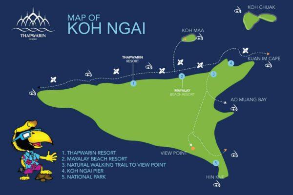 Eine Übersichtskarte von Koh Hai