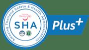 Das SHA Plus Logo welches bestätigt, dass man die hohen Standards einhält im Umgang mit dem Corona Virus und bestätigt, dass mind. 70% der Angestellten geimpft sind.