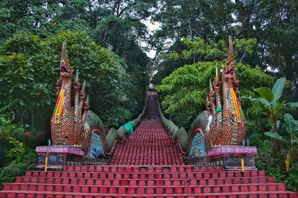 Wat Doi Suthep, Nagatreppe