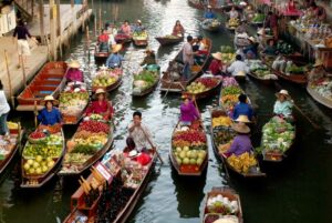 Schwimmender Markt Damnoen Saduak - Kanchanaburi Rundreise