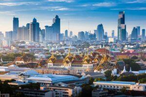 Bangkok skyline mit Grand Palace