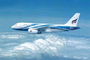 Flugzeug der Bangkok Airways am Himmel