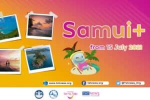 Logo des Samui Plus Models mit Fotos von den Inseln Koh Samui, Koh Phangan und Koh Tao