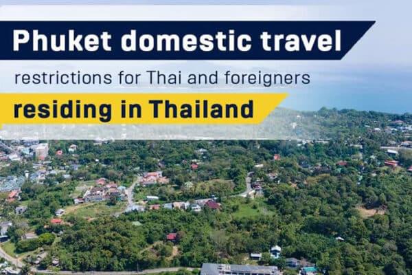 Blick auf die Insel Phuket aus der Luft, mit der Schlagzeile des Tages