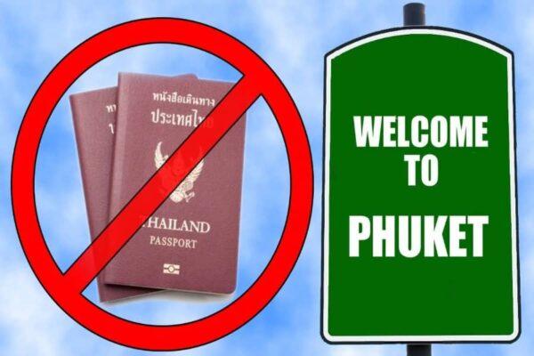 Willkommen auf Phuket Schild und die Abbildung thailaendischer Reisepaesse