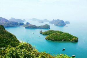 Blick ueber den Ang Thong Marine National Park vom bekannten Aussichtspunkt