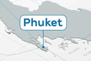 Kartenansicht von Phuket mit ankommenden Flugzeugen