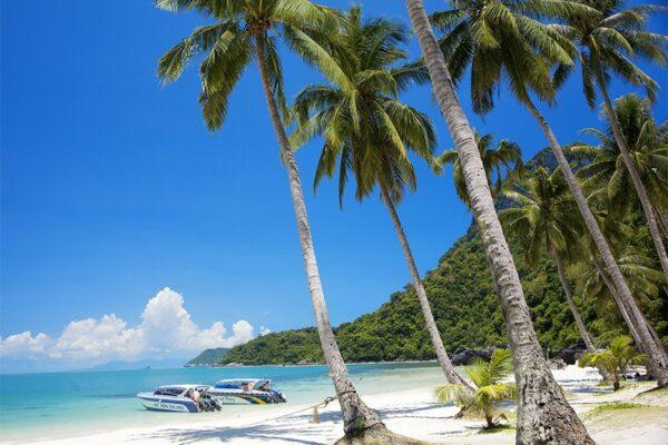 Strand im Angthong Marine National Park in der naehe von Koh Samui Thailand
