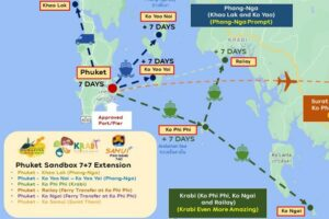Uebersichtskarte der Reisemoeglichkeiten im Sueden von Thailand