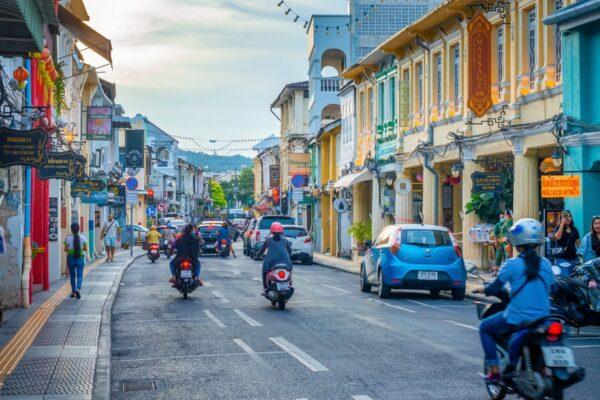 Strasse in Phuket Old Town der Altstadt von Phuket