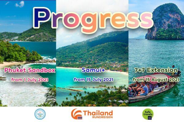 Thailands fortschritt auf dem weg zur Wiedereroeffnung